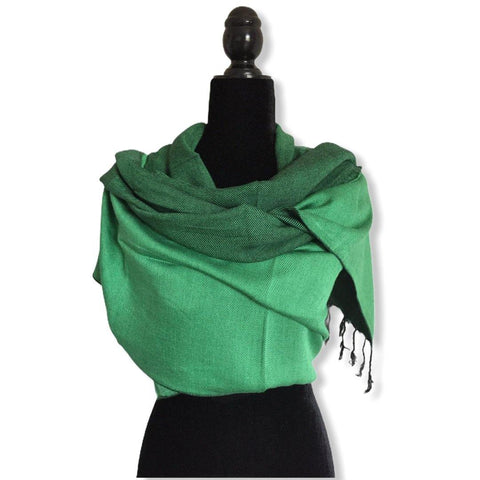 Double-faced Diagonal Shawl - Green & Black
