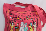 Handmade Embroidered Textile Reusable Shopping Tote - Pink