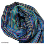 Small Striped Handwoven Scarf - Blue, green & mauve