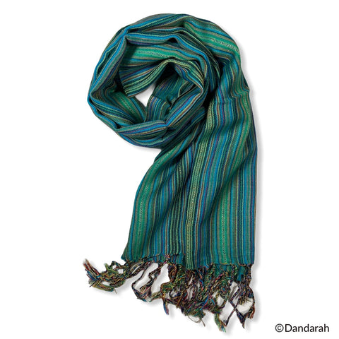 Small Striped Handwoven Scarf - Mediterranean Sea
