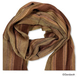 Small Striped Handwoven Scarf - Sinai Copper