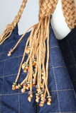 Sofia Handcrafted Shoulder Bag - Navy Blue Jeans