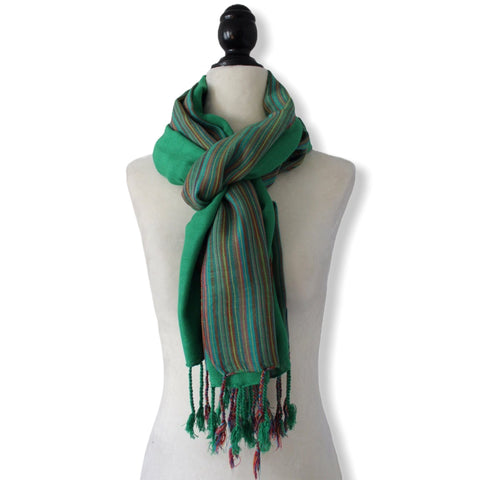 Striped-frame Handwoven Scarf