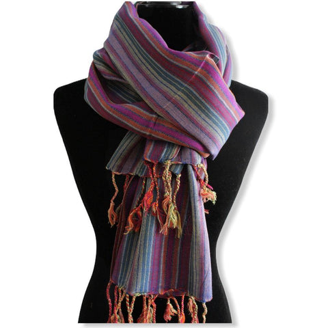 Striped Handwoven Scarf - Mauve & Green