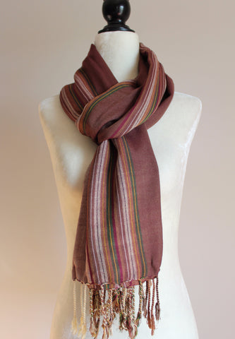 Striped Handwoven Viscose Scarf - Brown