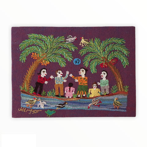 Hand Embroidered Tapestry - My Children and I in Sham El Nessim