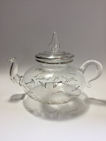 Blown Glass Teapot with Warmer - Flowers