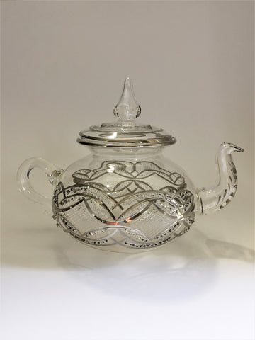 Blown Glass Teapot with Warmer - Silver Garland