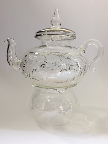 Blown Glass Teapot with Warmer - Leaves