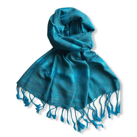 Helyat Handwoven Scarf - Variegated Turquoise