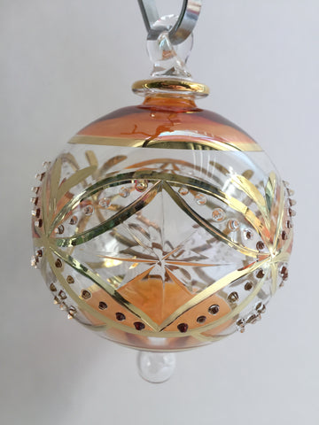 Handmade Blown Glass Ornament - Orange Carousel