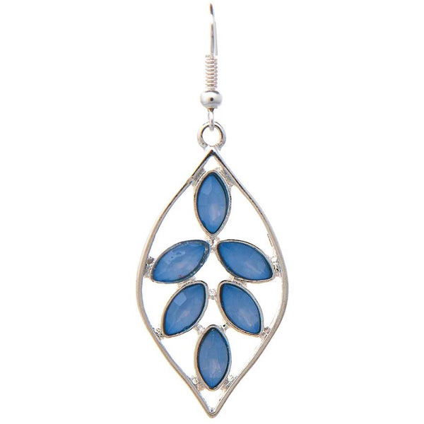Silver Blue Gem Leaf Earrings - Gifts A GoGo