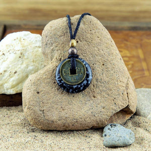 Snowflake Obsidian and Feng Shui Coin Pendant Necklace