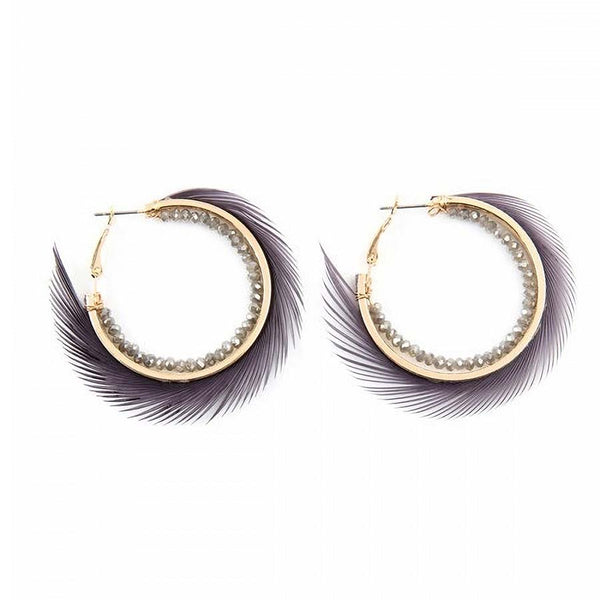 Fine Fringe Hoop Earrings Gray - Gifts A GoGo