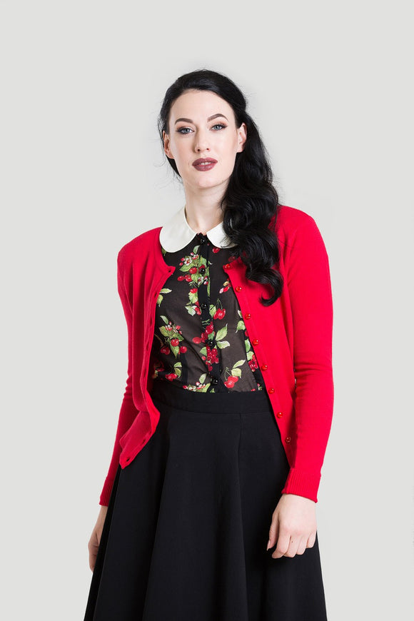 Hell Bunny 6642 Debbie Cardigan Red