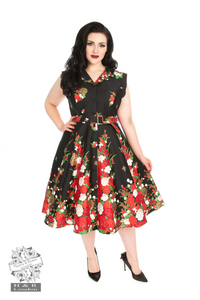 Hearts & Roses 8171 Black Floral Shirtwaist Dress +Size