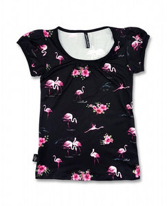 Liquorbrand WSC-002 Flamingos Black T-Shirt