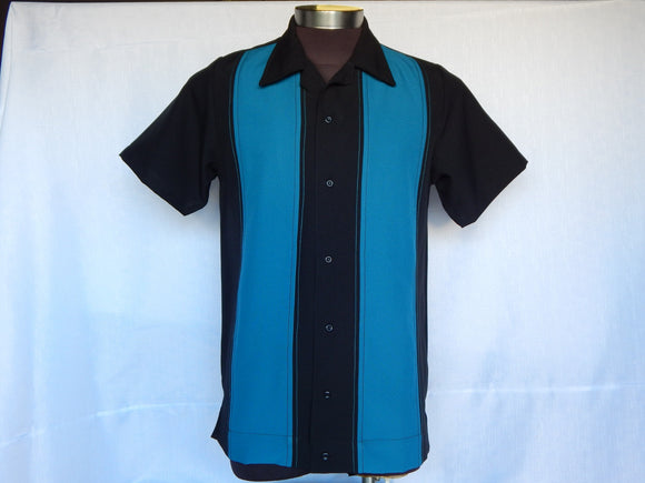 Nifty50's Bodgie Double Panel Men's Shirts Black/Teal.