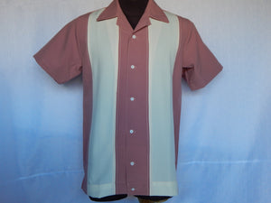 Nifty50's Bodgie Double Panel Men's Shirts Dusty Pink/Cream