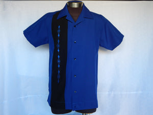 Nifty50's Havana One Panel Diamond Design Men's Shirt Royal/Black