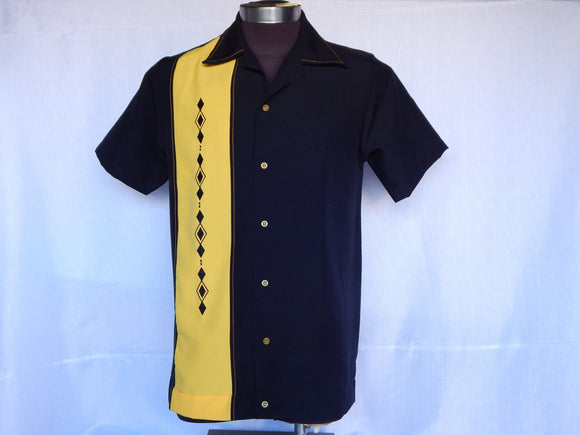 Nifty50's Havana One Panel Diamond Design Men's Shirt Black/Gold