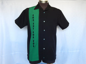 Nifty50's Havana One Panel Diamond Design Men's Shirt Black/Emerald