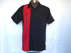 Nifty50's Havana One Panel Diamond Design Men's Shirt Black/Red