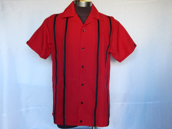Nifty50's Cruisin Double Stripe Men's Shirt Red/Black