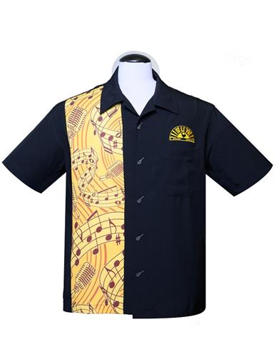 Steady SR35400 Sun Records Music Notes Men's ButtonShirt