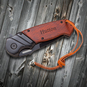Saw Mountain Personalized Wood Handle Spring Assisted Pocket Knife With Leather Wrist Lanyard