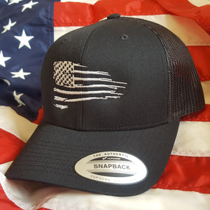 Rugged American Flag Snapback Trucker Hat
