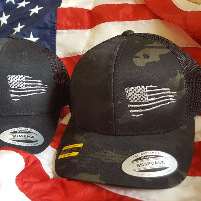 Rugged American Side Flag Snapback Trucker Hat