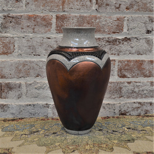 Large Rainbow Matte Vessel with Scallops by Christine Davis