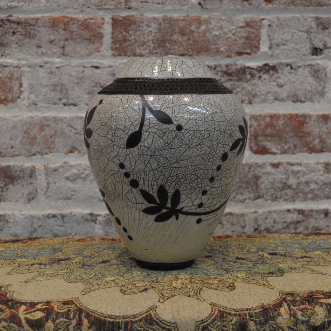 White Crackle Floral Design Vessel by Christine Davis
