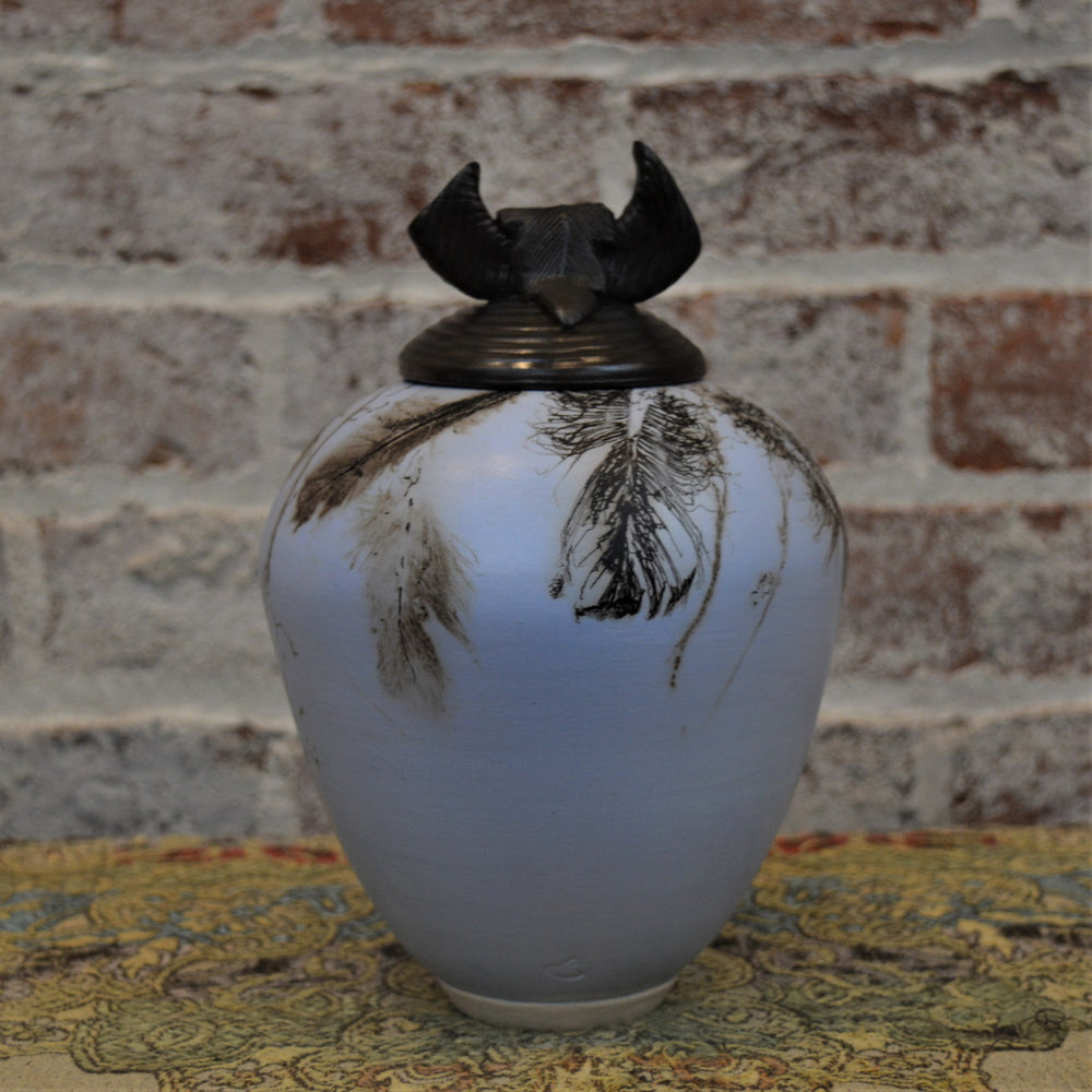 (Blue) Horse Hair & Feathers Lidded Vessel by Christine Davis