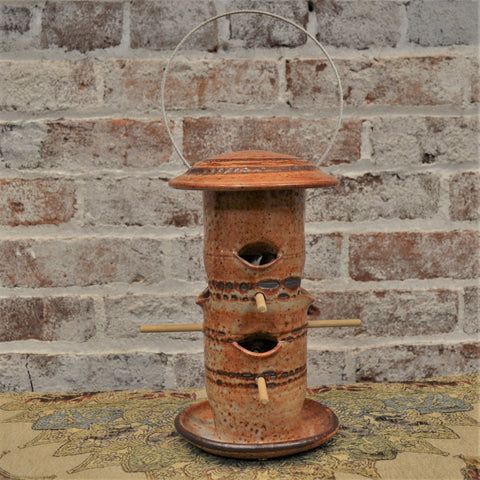 6 perch ceramic bird feeder by Art Baird