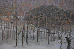 Horse and Saplings by Mark Blaney