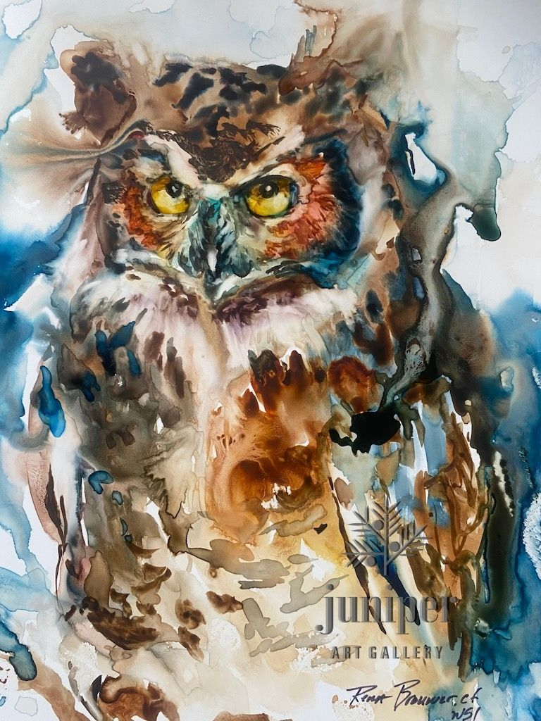 Great Horned Owl, watercolor by Rena Brouwer