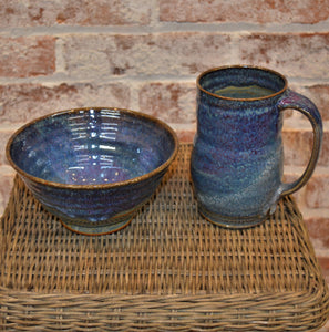 Mug & Cereal/Soup Bowl Set by Kris Bush (Blue/Purple)
