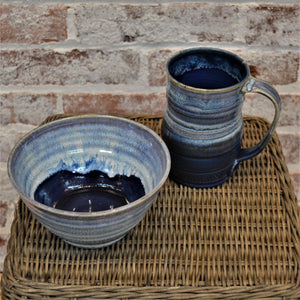 Mug & Cereal/Soup Bowl Set by Kris Bush (Blue/White)