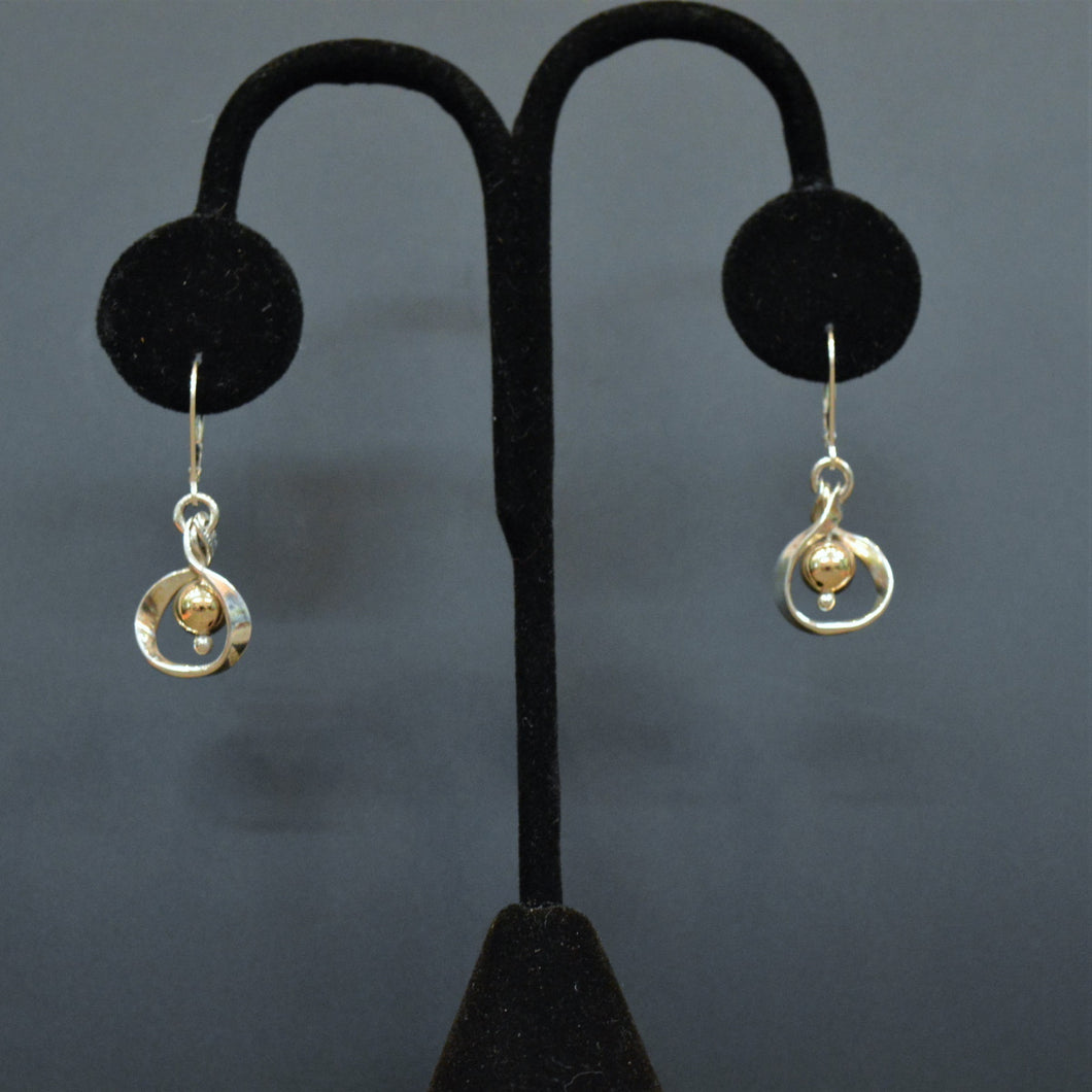 Sterling silver & brass earrings by Lee Cohn