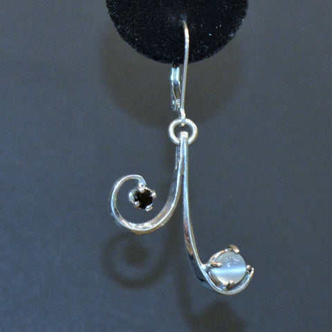 Sterling silver, moonstone and black spinel earrings (detail) by Lee Cohn