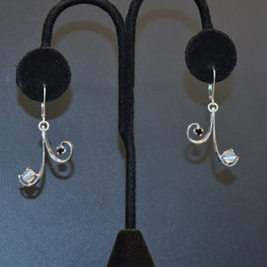 Sterling silver, moonstone and black spinel earrings by Lee Cohn