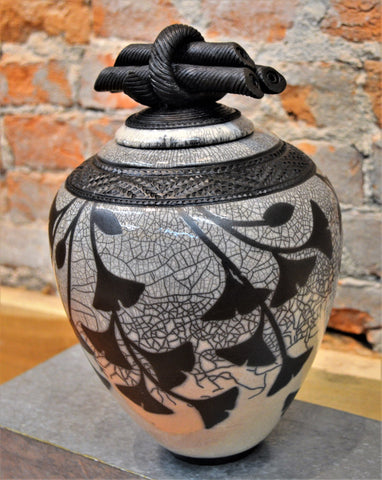 Lidded Gingko Vessel by Christine Davis