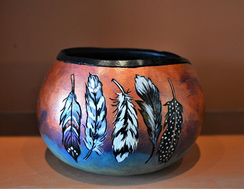 Hand painted gourd bowl w/ feathers by Debra Flagle