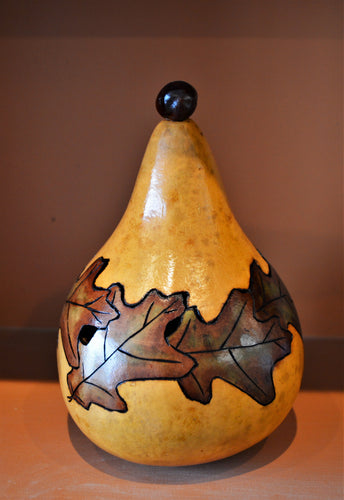 Gourd, wood-burned, hand painted with oak leaf pattern and removable lid by Debra Flagle
