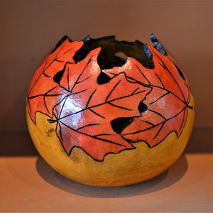 Gourd, hand painted, wood burnished, with maple leaf cut-out design by Debra Flagle