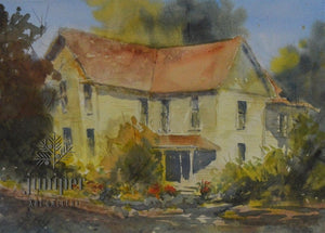 Yellow House on Sixth Street, watercolor by Jacki Frey