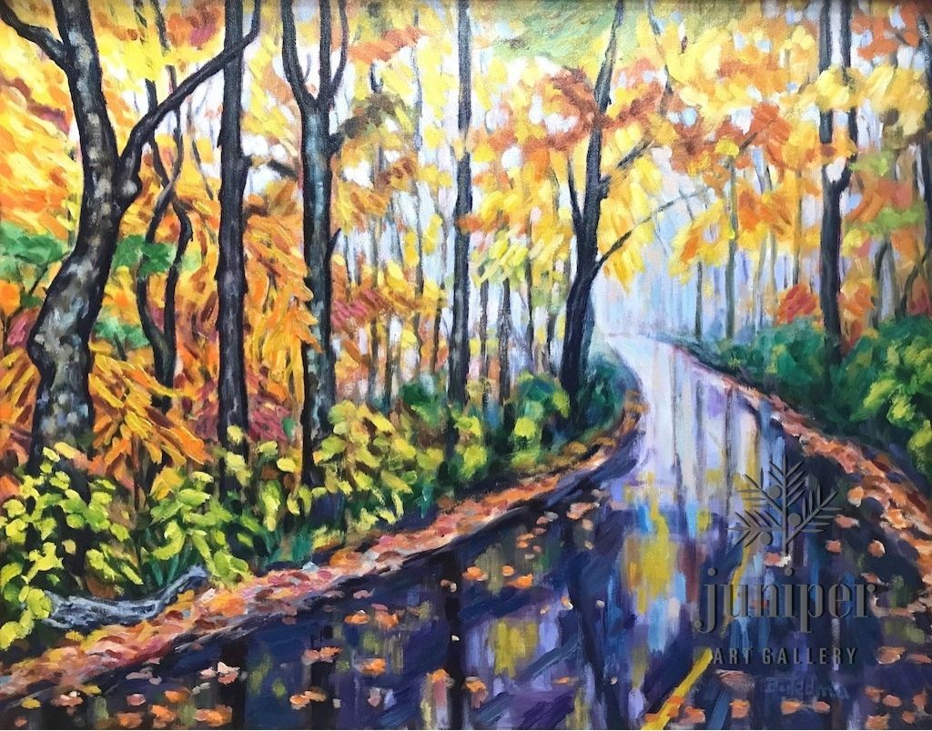 Foggy Autumn Road, oil painting on canvas by Grace (Butedma) Gonso