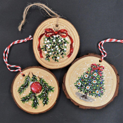 Holiday ornaments painted by Kathryn J. Houghton